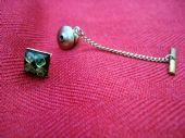 Vintage Tie Tack with Green and Black Stone (SOLD)